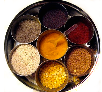 Center top, moving clockwise: Mustard Seeds, RedChiliPowder, Fenugreek seeds, Channa dhaal, Urad dhaal, Cumin Seeds. Center: Turmeric.