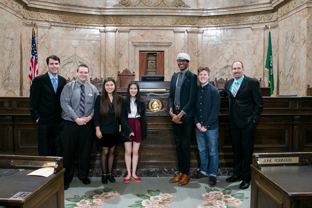 Representative Berquist and my students on the Washington State House of Representatives floor.