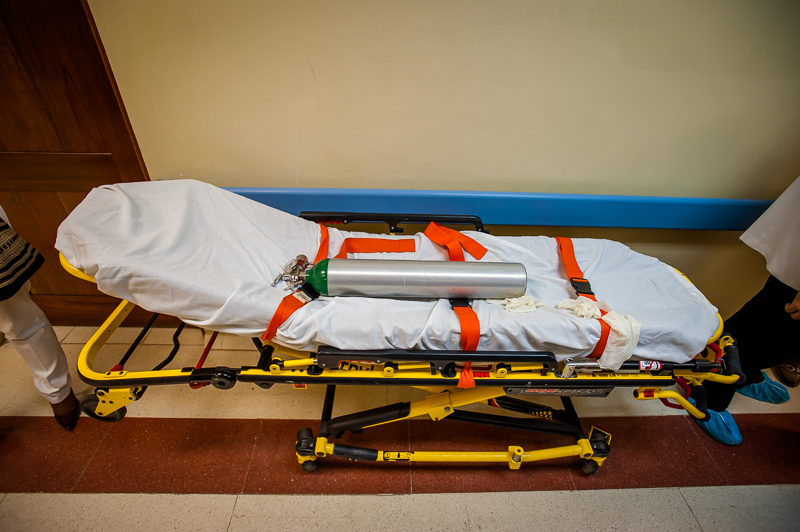 Empty stretcher in the ICU waiting area at the Hospital Traumatologico Dr. Ney Arias Lora, a large national hospital specializing in trauma, in Santo Domingo, Dominican Republic on July 2, 2014.
