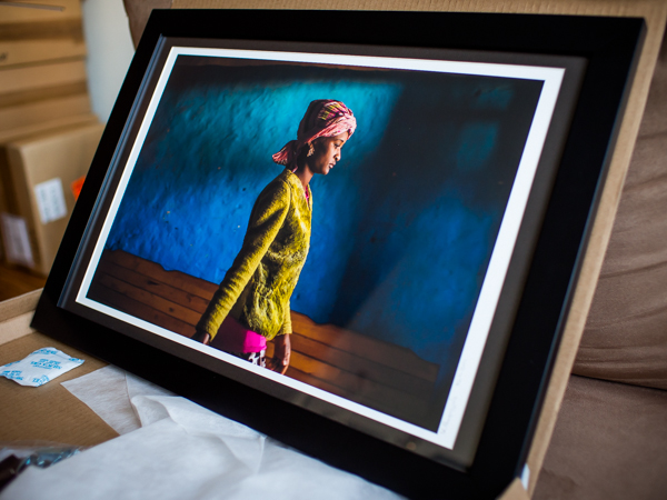 """""""The Thing With Feathers"""" charity art show behind-the-scenes (matting and signature) at Art Zaratsyan's studio, Vancouver, BC, Canada on April 30, 2014."""