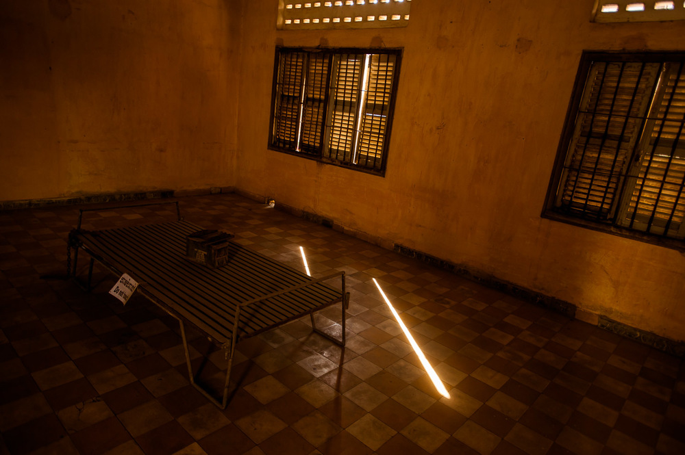 Detainment and interrogation room at Khmer Rouge S-21 prison, now Tuol Sleng Genocide Museum in Phnom Penh, Cambodia, on December 6, 2013.  Copyright © 2013 Art Zaratsyan