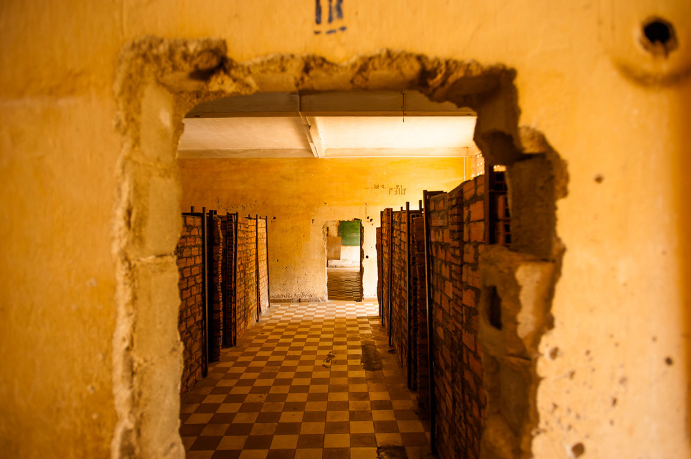 A classroom repurposed as a cell block at the Khmer Rouge S-21 prison, now Tuol Sleng Genocide Museum in Phnom Penh, Cambodia, on December 6, 2013.  Copyright © 2013 Art Zaratsyan