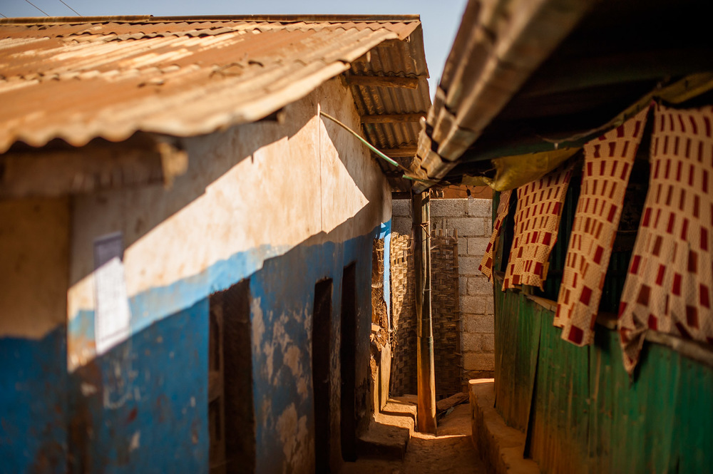 Typical houses in Gerese, a district center in SNNPR, Ethiopia, where many clean water projects by HOPE International Development Agency are being carried out every season. January 23, 2014.  Copyright © 2014 Art Zaratsyan