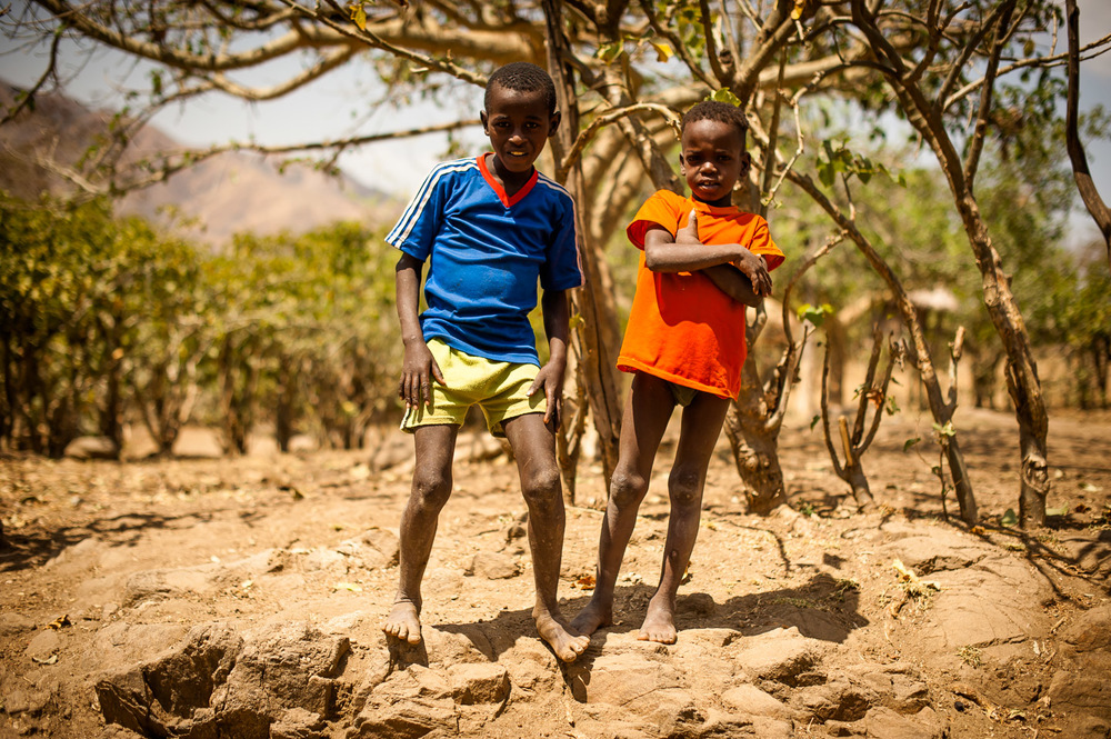 Children of Koshale. Ethiopia on January 23, 2014.  Copyright © 2014 Art Zaratsyan