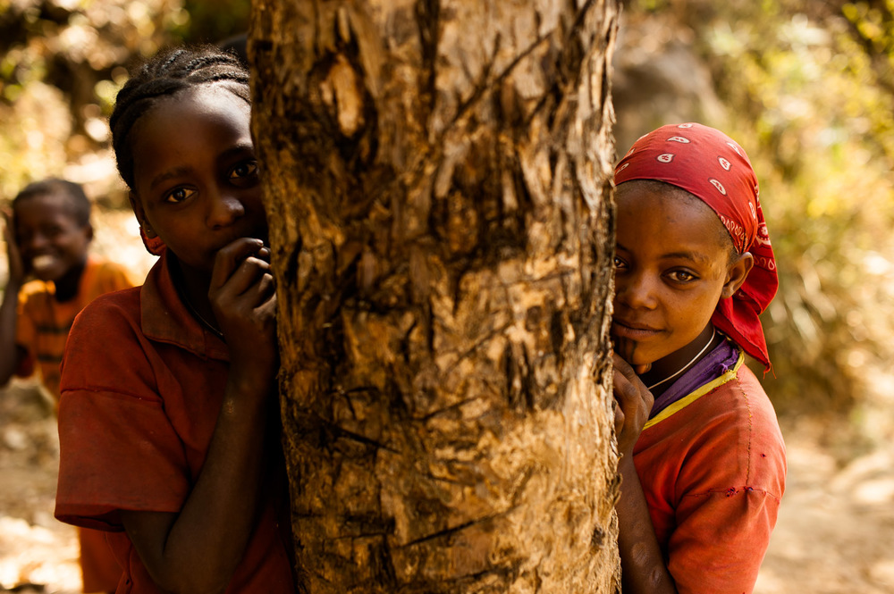 Children of Koshale, near the source of clean water. Ethiopia on February 1, 2014.  Copyright © 2014 Art Zaratsyan