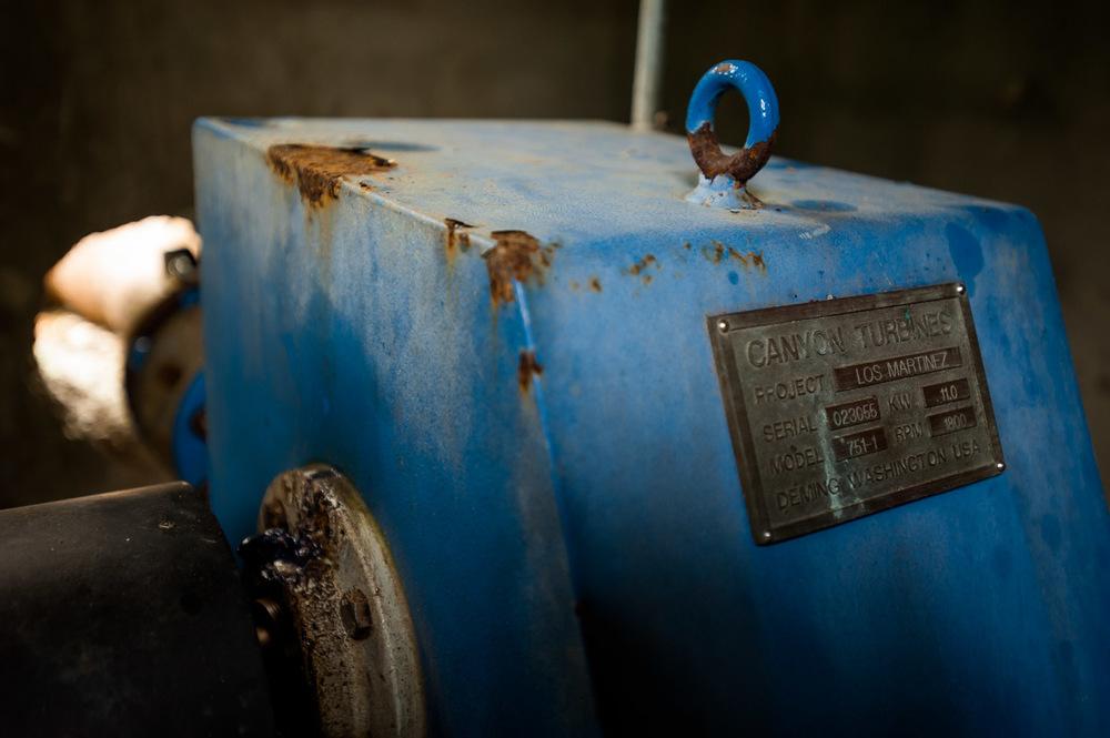 US-built 11 KW hydro turbine powers the village of Los Martinez, San José De Ocoa, Dominican Republic. July 4, 2014.  Copyright © 2014 Art Zaratsyan