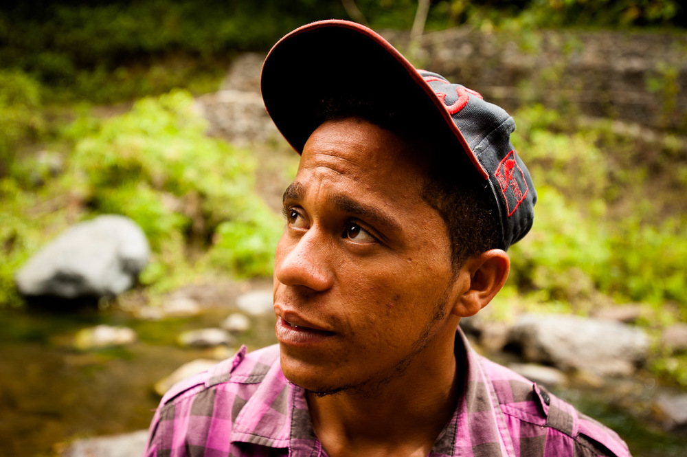 Manuel Pinales, from the community of Las Avispas, San José De Ocoa, Dominican Republic, is overseeing the construction of a new hydro power plant which will utilize the waters of Arroyo Las Avispas to power his village. July 10, 2014.  Copyright © 2014 Art Zaratsyan