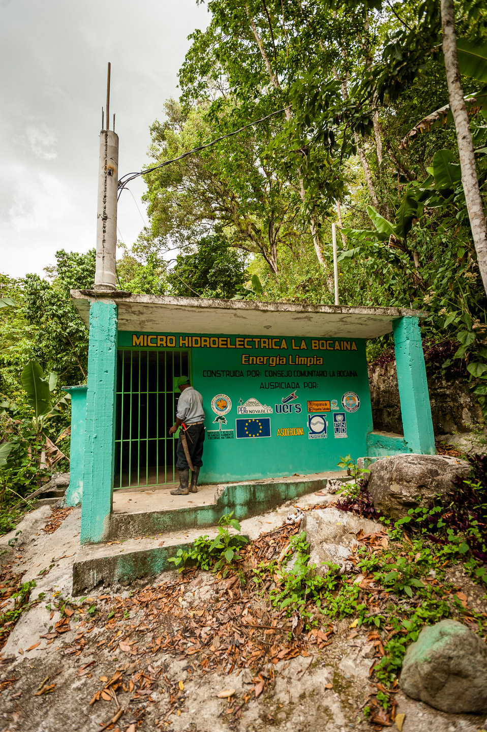 This micro hydro power plant provides electricity to the La Bocaina community in San José De Ocoa, Dominican Republic. An ADESJO joint project with the local community. July 3, 2014.  Copyright © 2014 Art Zaratsyan