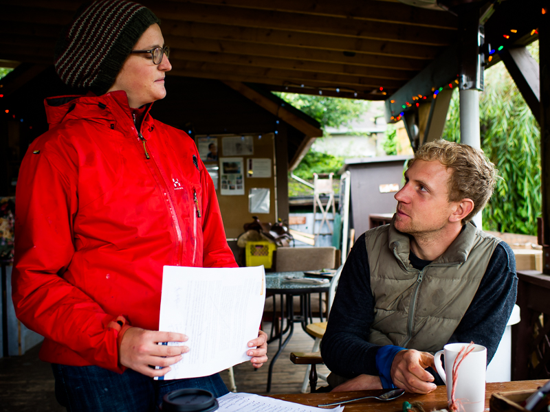 Judith, who's been working on the Southlands Heritage Farm for the past two months, discusses upcoming Sunday Market with Jordan Maynard, Southlands Farm general manager and educator, Vancouver, BC, Canada on September 29, 2013. Photo: Art Zaratsyan