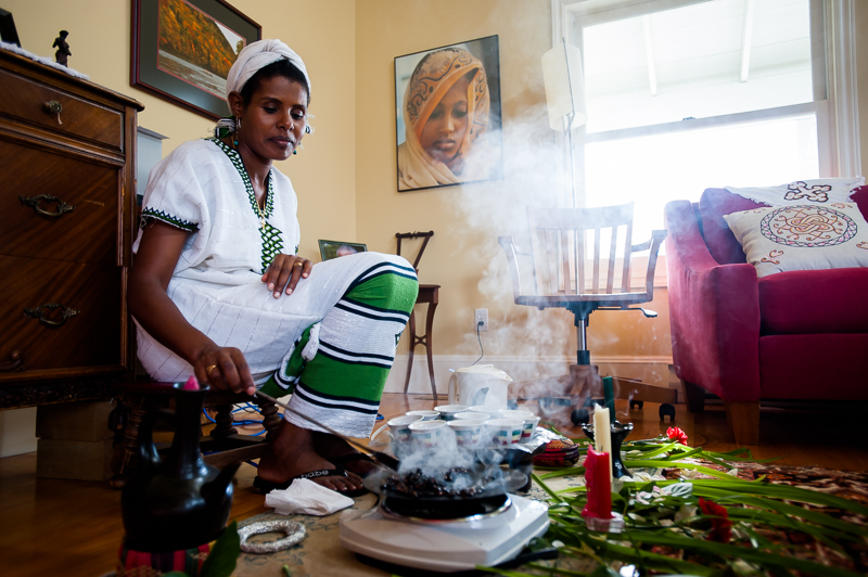 Woinshet, wife of John Baigent, roasts coffee in a traditional Ethiopian style at their home in Enderby, BC, CANADA on August-17-2013. Photo: Art Zaratsyan