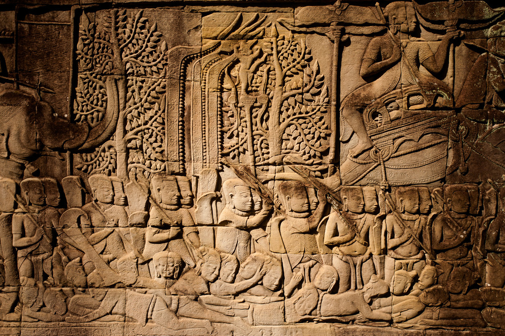 Carved on the walls of ruins of Angkor Wat are scenes of war—a lesson from the past? In Siem Reap, Cambodia. November 24, 2013.