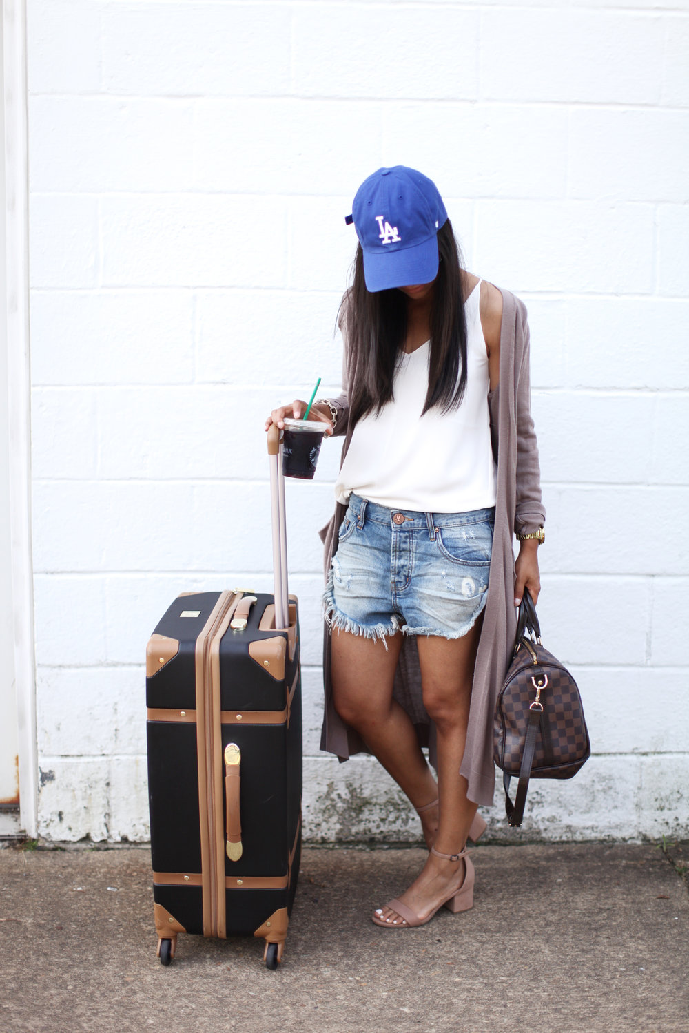 AIRPORT ATTIRE  - CAP: NORDSTROM (SHOP HERE) TOP: LOFT ( SHOP HERE) SHORTS: ONE X ONETEASPOON (SHOP HERE) SHOES: MERONA (SHOP HERE) LUGGAGE : DVF (SHOP HERE)