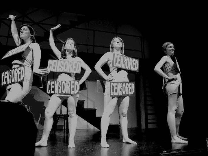 A scene from our opening number! From left to right: Meg Murphy, Aidan Black-Allen, Hayley Kellett, Alicia Douglas