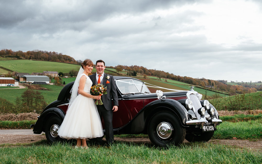 Blackbrook Wedding Vintage Car Derbyshire