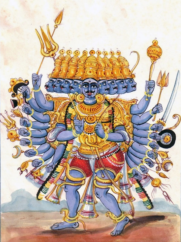 Rāvaṇa depicted with ten heads and twenty arms.