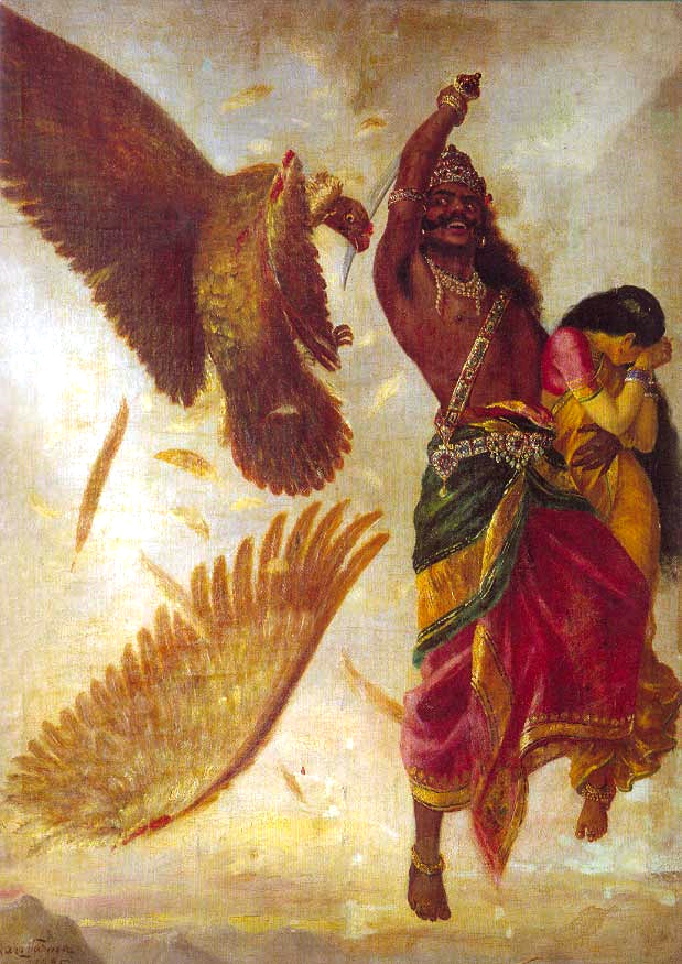 Jaṭāyu falls as Rāvaṇa abducts Sītā.
