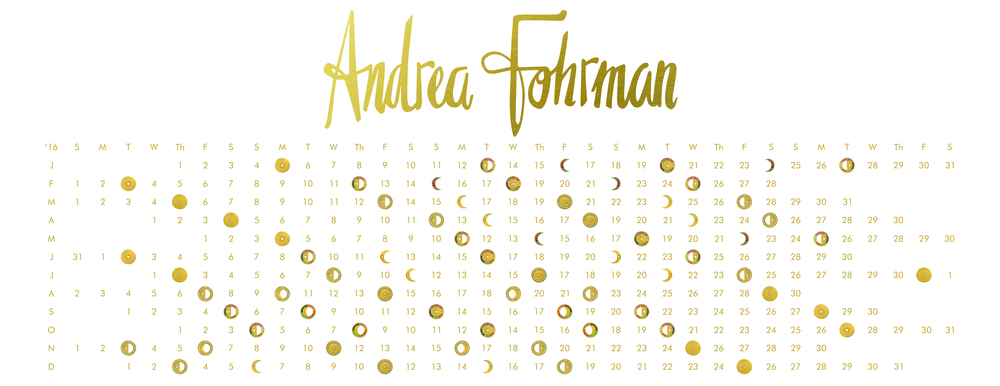 Couture backdrop using the lunar calendar featuring Andrea Fohrman's phases of the moon charms