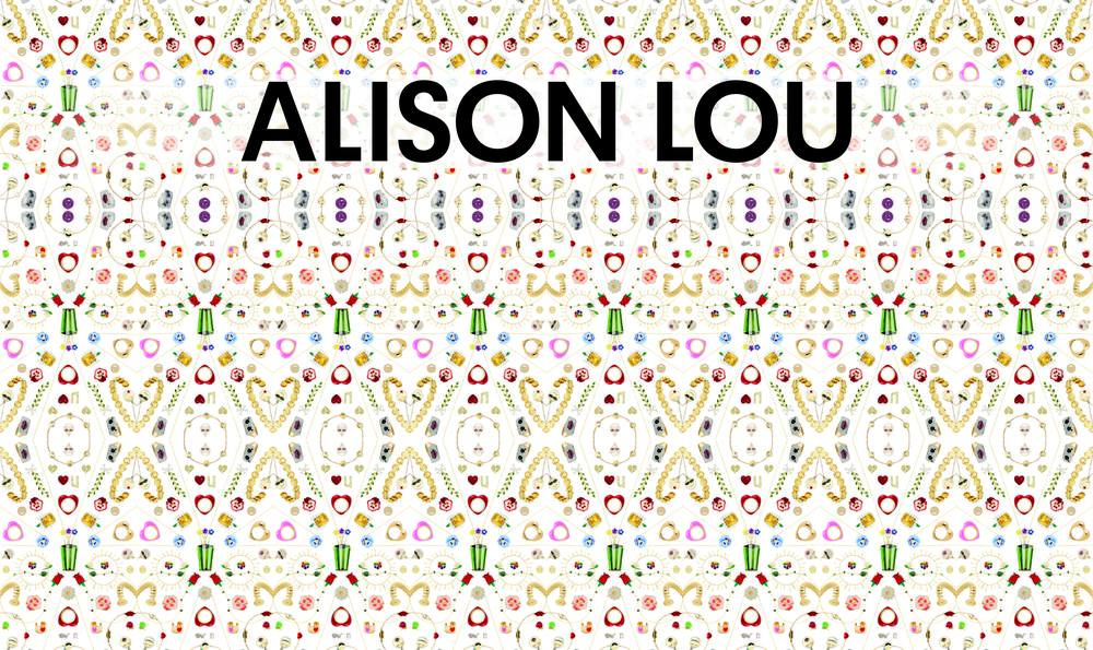 Background is a mandala/kaleidoscope of Alison Lou's signature pieces intertwined with her latest collection.