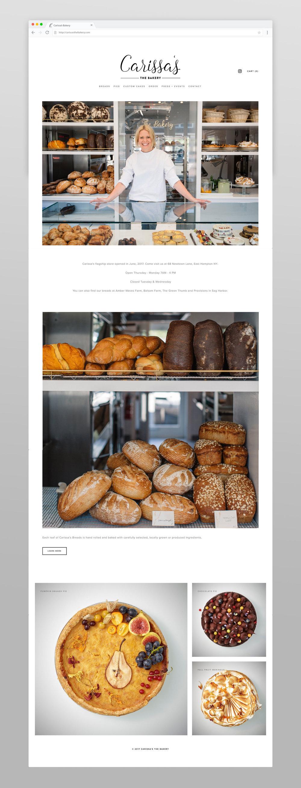 Carissa's Bakery Website