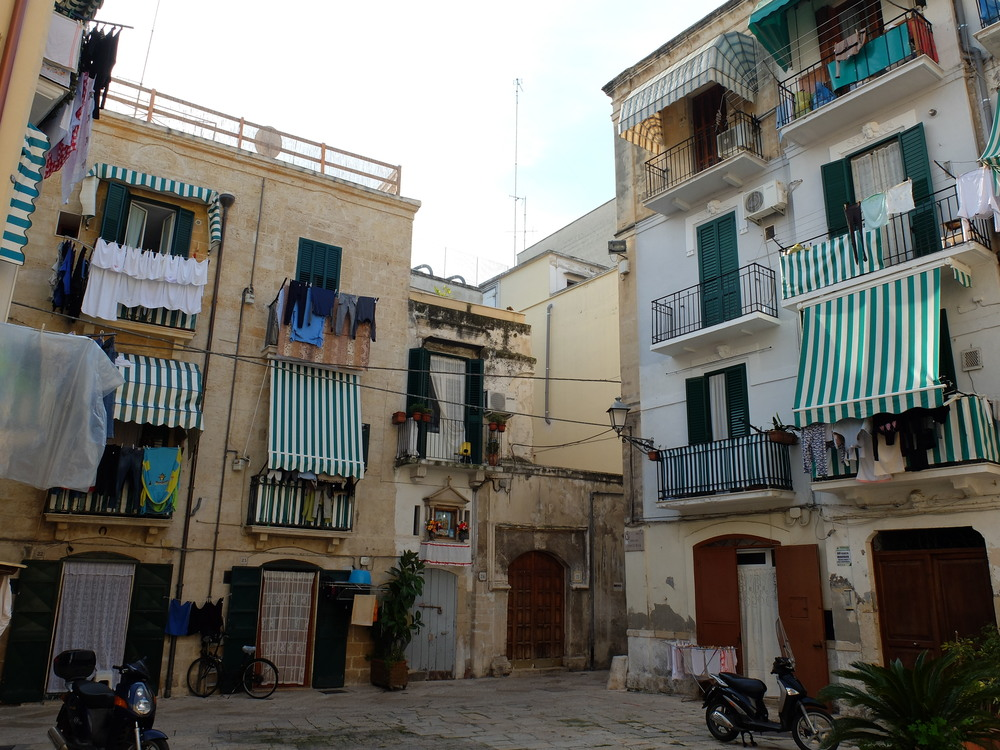 Typical dead-end street, Old Town, Bari, Italy