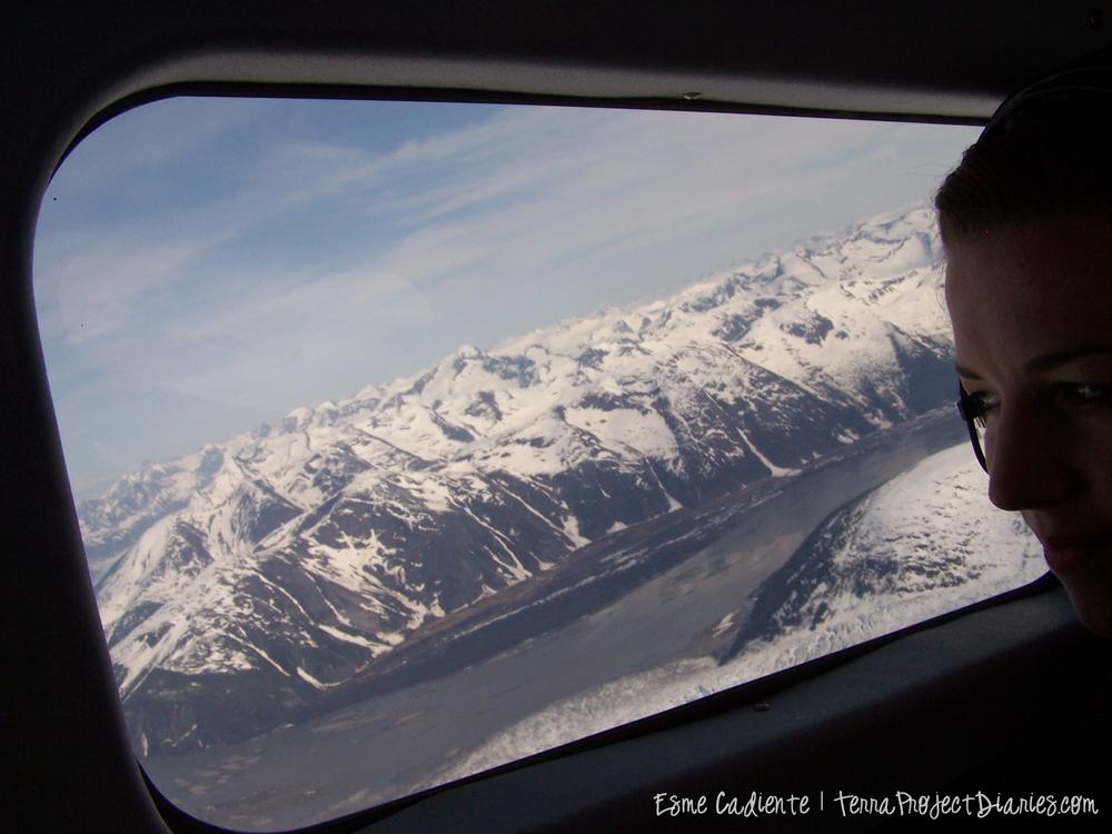 Looking through the window of a float plane near Juneau, Alaska