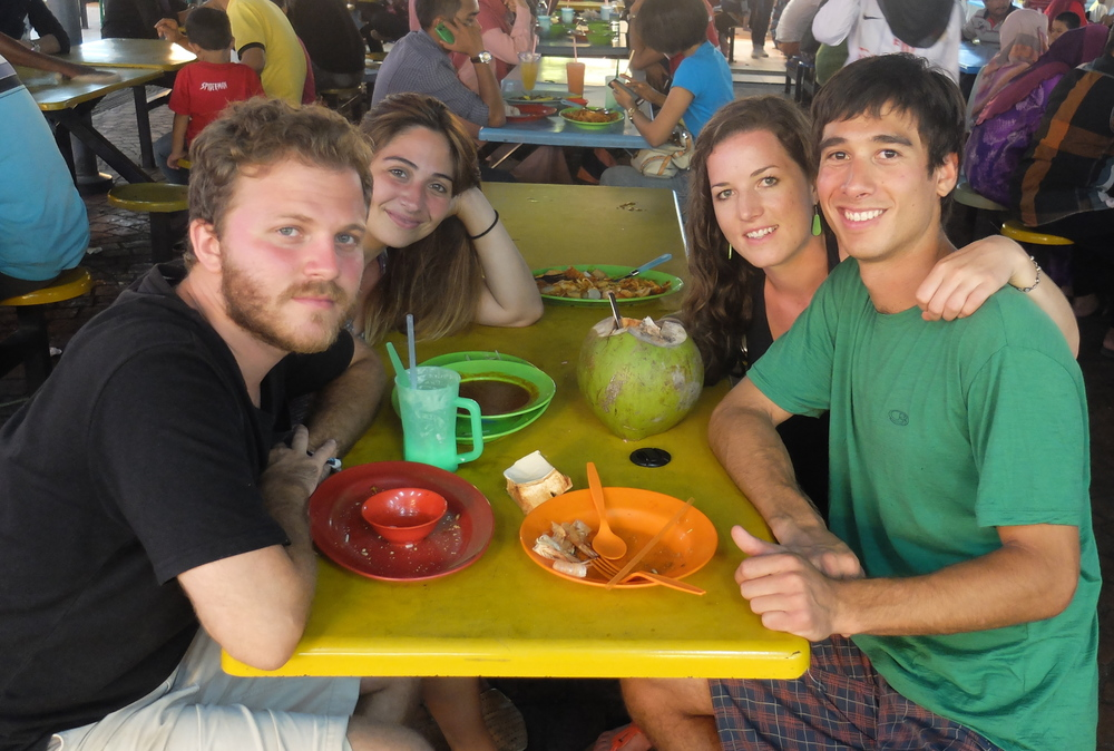eating at hawker stalls, penang
