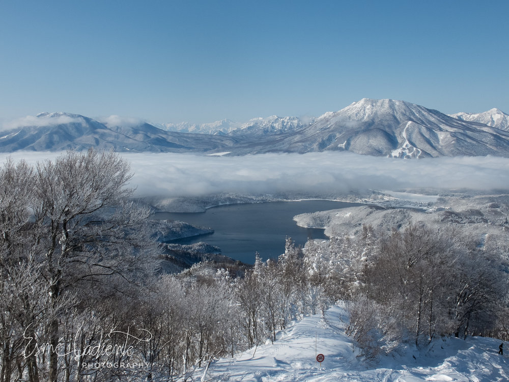The view of Lake Nojiri from the ridge between Madarao and Tangram Ski Circus.