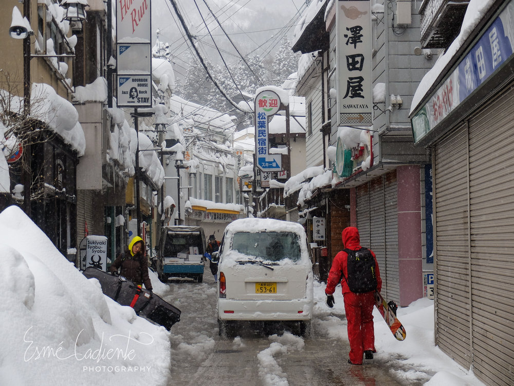 Hot spring water is used to melt the snow on the streets of Nozawa Onsen.