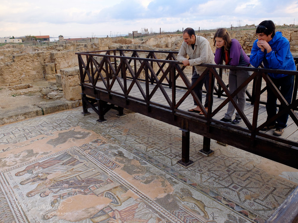 Superbly preserved mosaic tiled floors have been uncovered in many of the Roman villa remains in Paphos.