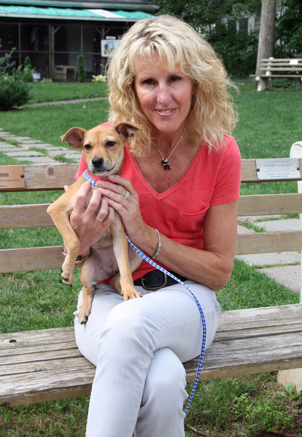 Pam Green, Executive Director of Kent Animal Shelter with sato pup, Robbie.