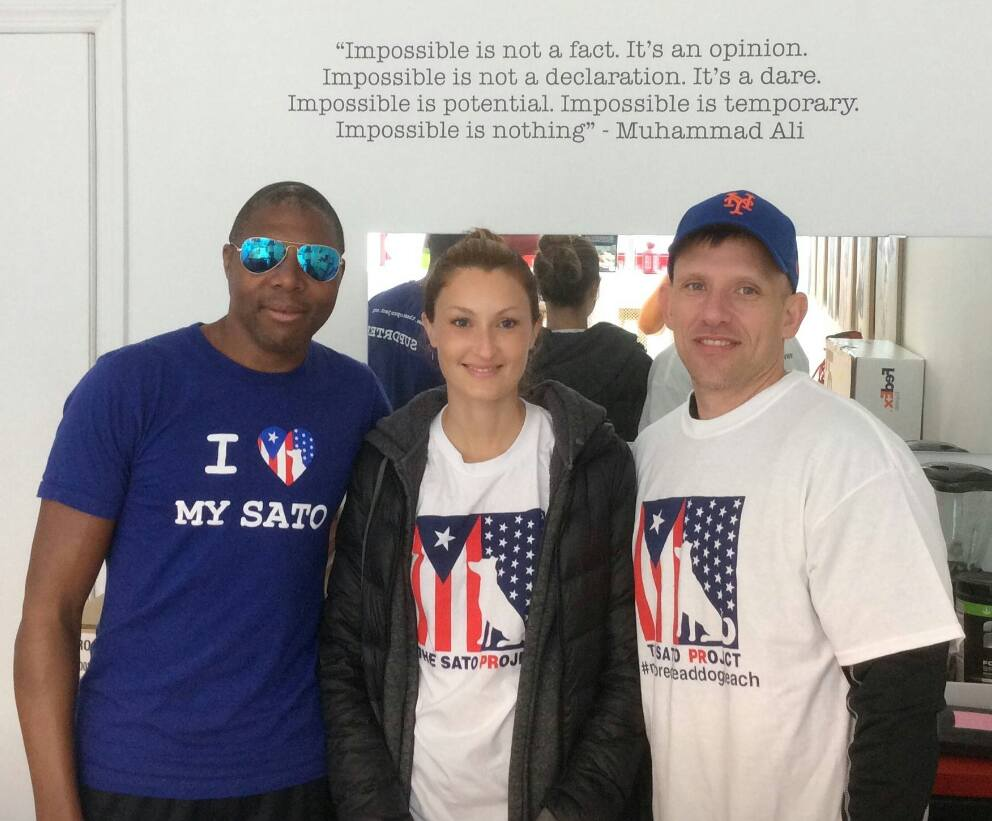 Alex's cousin David with Bobby Beckles and Samantha Gurrie at The Sato Project's office.