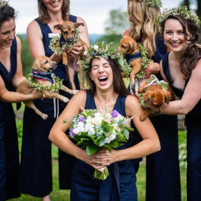 Kate surrounded by love - and puppies!  Photo: The Dogist