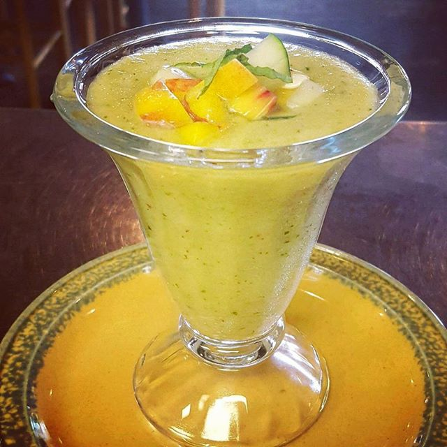 Chilled peach and cucumber gazpacho #farmersmarket #summer #localasheck