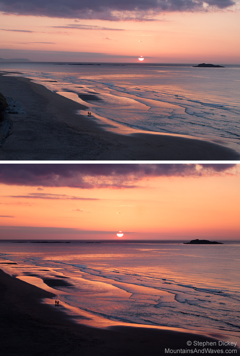 Before (top) and after (bottom), the typical extent of my 'Photoshopping' - Northern Ireland Landscape Photography by Stephen Dickey
