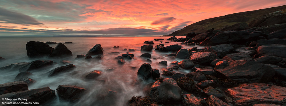 Murlough Bay Panorama, County Antrim - Northern Ireland Landscape Photography by Stephen Dickey Canon 6D, Canon 16-35mm f2.8 L II @ 16mm, 15s @ f16, ISO 100,  Lee 1.2 soft-edge graduated neutral density filter, Manfrotto tripod