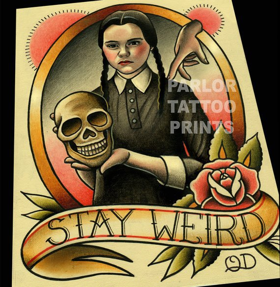 Addams Family Flash Print  - Artist Quyen Dinh makes amazing pop culture prints that you or a loved one wants to have on your crypt wall.