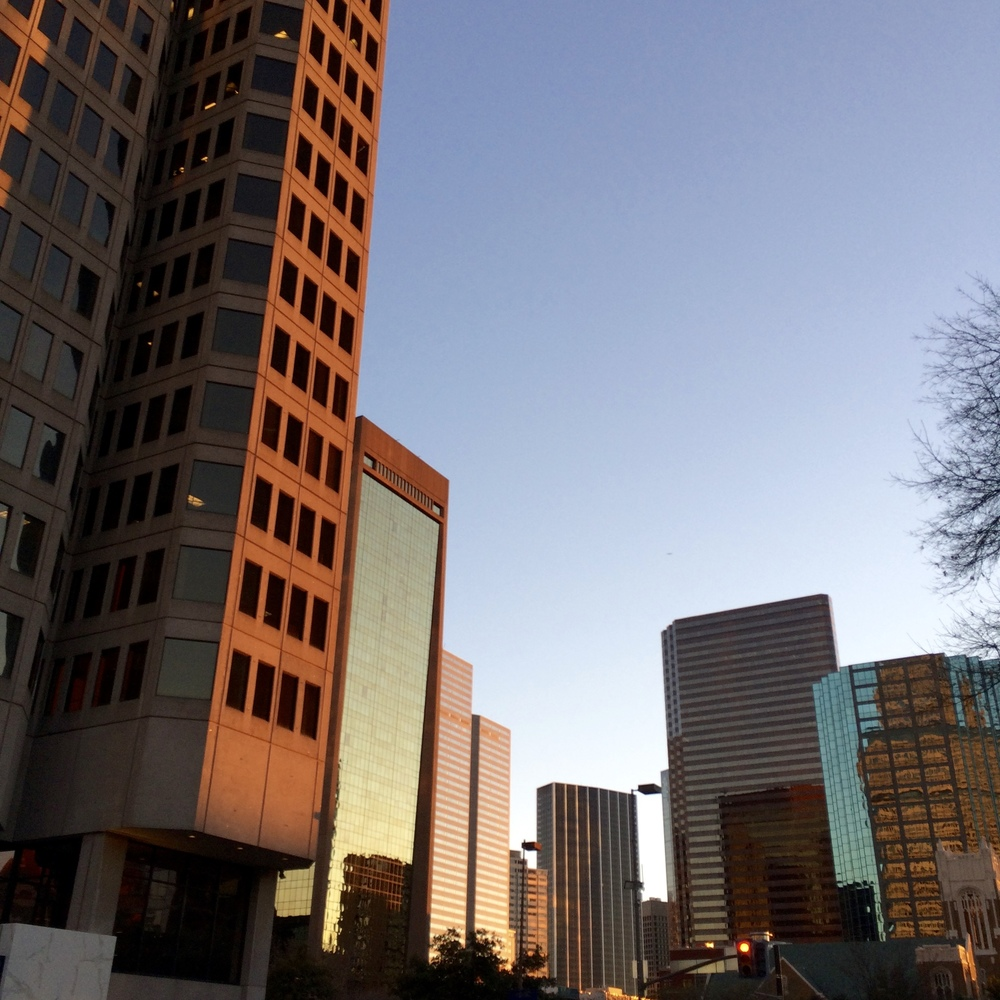 Golden hour in downtown Dallas