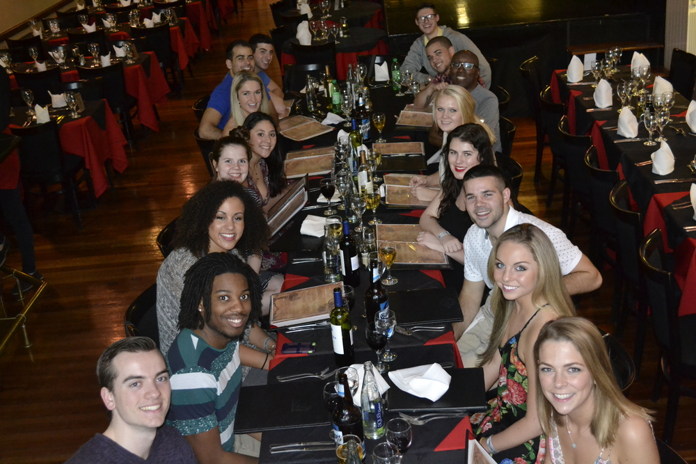 This is my whole group at dinner / a Tango show on our first night