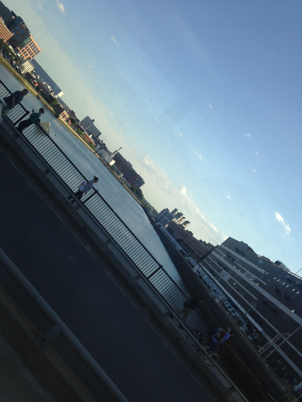 View of Fort Point Channel from the shuttle bus