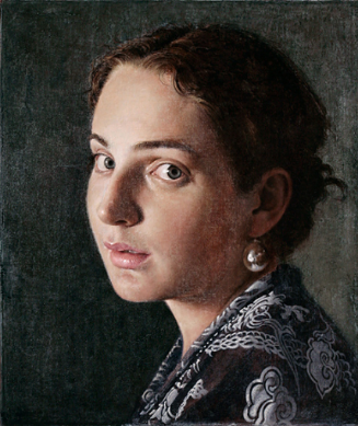 "A portrait from John Nava's website of another of his favorite models with whom he has worked over the past 10 years. This was an homage to  Vermeer's ""Girl with a Pearl Earring"""