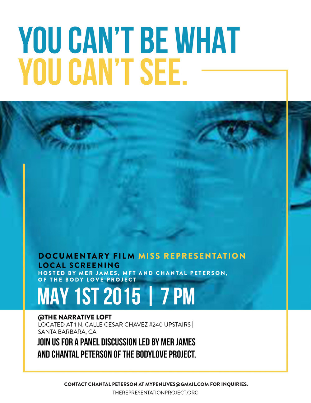 Flyer for the Santa Barbara screening of Miss Representation