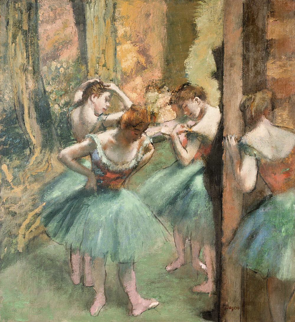 Dancers, Pink and Green by Edgar, Degas. Oil on canvas c. 1890. From the H. O. Havemeyer Collection, Bequest of Mrs. H. O. Havemeyer, 1929. Metropolitan Museum of Art, New York City.  On the Met's super informative website I learned that Degas manipulated the oils to mimic the pastel techniques he liked to use.