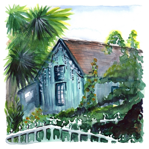 Blue Los Rios Cottage, watercolor. This painting will soon be available in the shop!