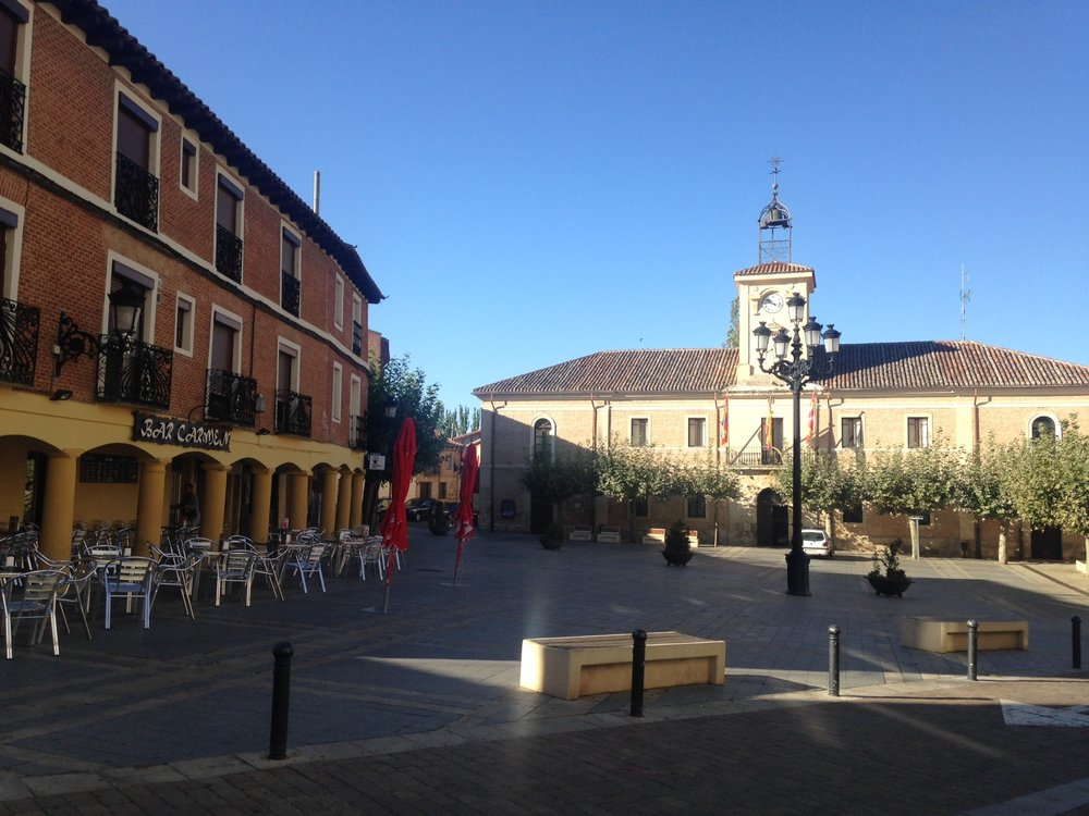 Carrion de los Condes, passing through the main square before a very long walk through the Meseta