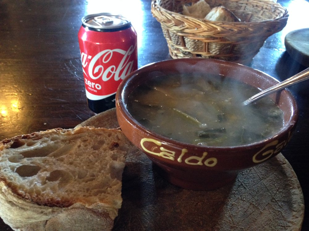 The absolute best thing to eat in the quaint town of O'Cebreiro-- a big bowl of caldo gallego and rustic bread (and caffeine of course)