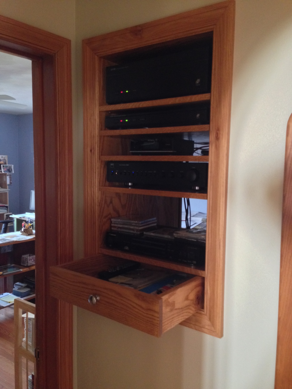 On This Project, The Client Wanted A Centrally Located Stereo System That  Would Not Take Up Floor Space In Their Home. I Found A Spot In Their  Hallway That ...