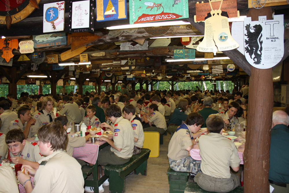 Scouts enjoying the largest open air dining hall east of the Mississippi!