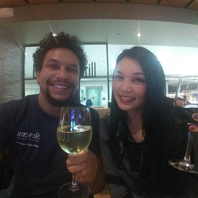 Waiting at #SFO till 11:30pm for my flight to #Sydney. Time to drink grape juice with my new friend @BombDiggity13