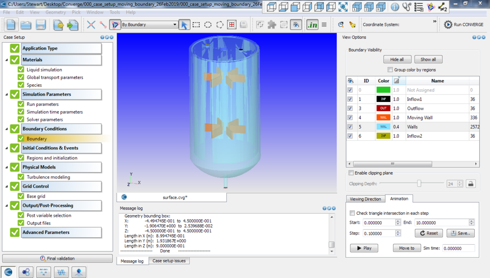Figure 5: CONVERGE CFD Interface During Setup of a Mixing Tank CFD Simulation