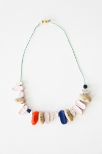 "Chloe Dzubilo & T De Long, ""Untitled (Medical Alert Necklace),"" 2009, Handmade pills (polymer clay, acrylic paint) on metallic cord with gold clasp. Photo credit: Michael Sharkey"